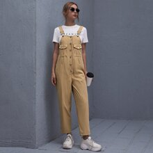 Button Front Flap Pockets Overall Jumpsuit
