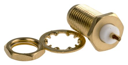 TE Connectivity Straight 50Ω Panel MountBulkhead Fitting Coaxial Connector, jack, Gold, Solder Termination, Coaxial (50)