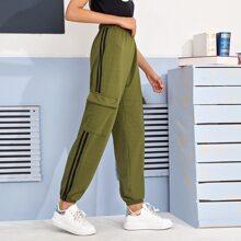 Side Stripe Flap Pocket Cargo Pants