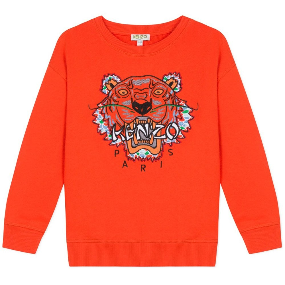 Kenzo Kids Tiger Print Sweatshirt Orange Colour: ORANGE, Size: 10 YEARS