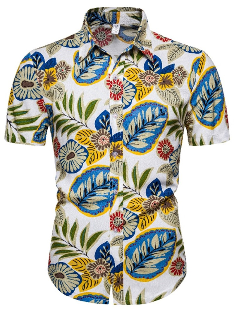 Ericdress Lapel Plant Casual Single-Breasted Summer Shirt