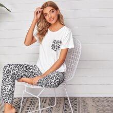 Schlafanzug Set mit Leopard Muster und Taschen vorn