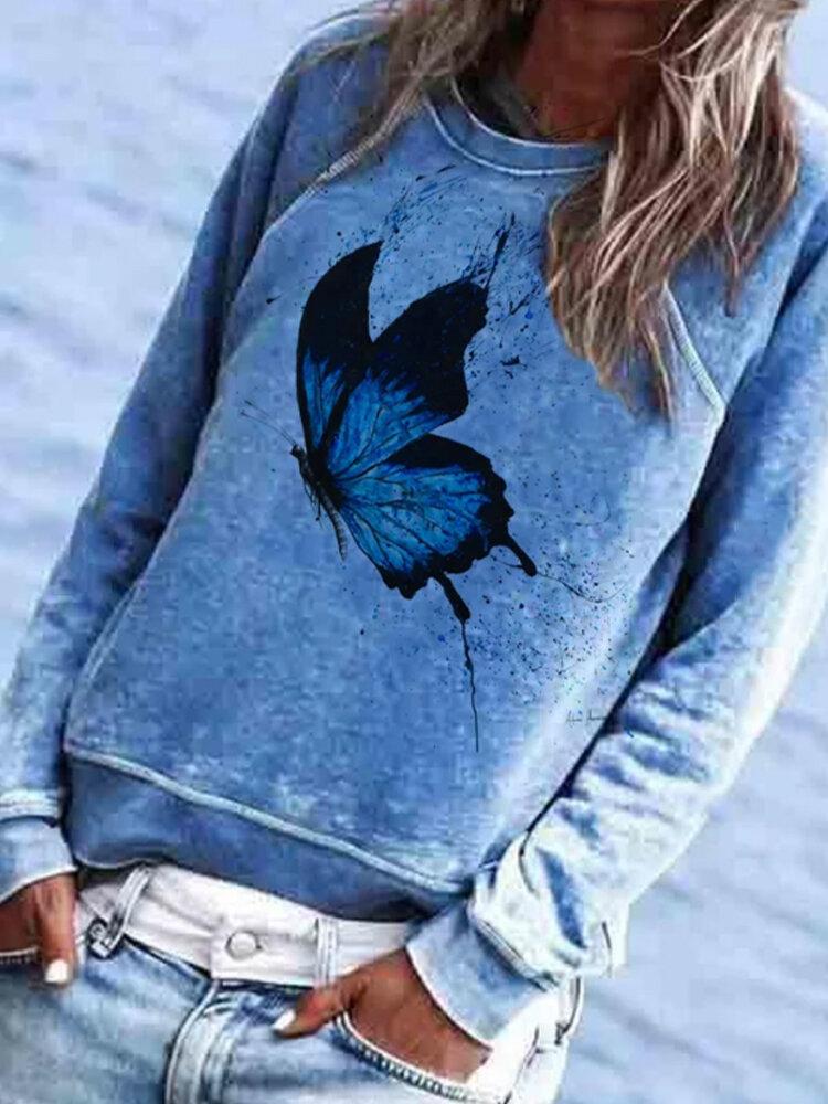 Butterflies Printed Long Sleeve Casual Plus Size Sweatshirt