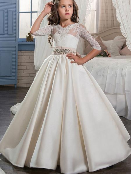 Milanoo Flower Girl Dresses V-Neck Satin Fabric Half Sleeves Floor Length Princess Silhouette Bows Kids Party Dresses