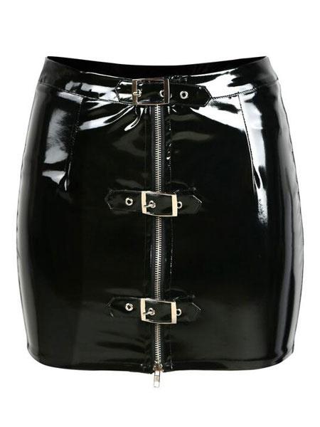 Milanoo Black Club Skirt Metal Details PVC Shaping Women's Sexy Mini Skirt