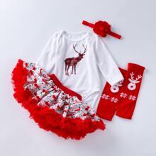 Baby Girl 4 Pack Christmas Print Bodysuit Set