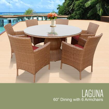 LAGUNA-60-KIT-6-TERRACOTTA Laguna 60 Inch Outdoor Patio Dining Table with 6 Chairs w/ Arms with 2 Covers: Wheat and