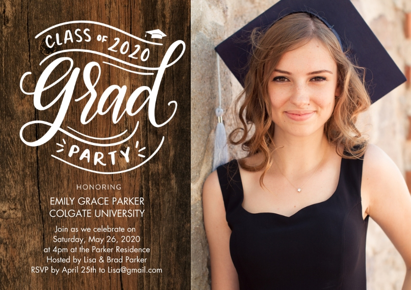2020 Graduation Invitations Flat Glossy Photo Paper Cards with Envelopes, 5x7, Card & Stationery -2020 Grad Party Script by Tumbalina