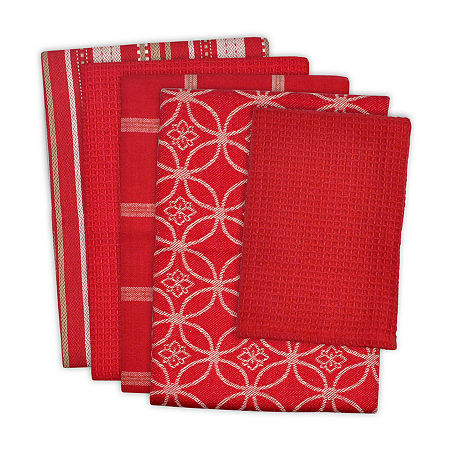 Design Imports 5-pc. Towels + Dish Cloths, One Size , Red