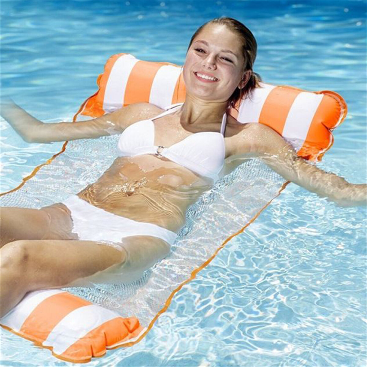 Water Inflatable Hammock Sofa Floating Bed Foldable Summer Backrest Floating Swimming Pool Party Floating Chair