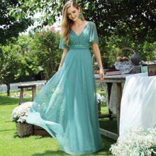 figurbetontes Prom Kleid mit Flatteraermeln, Glitzer und Netzstoff