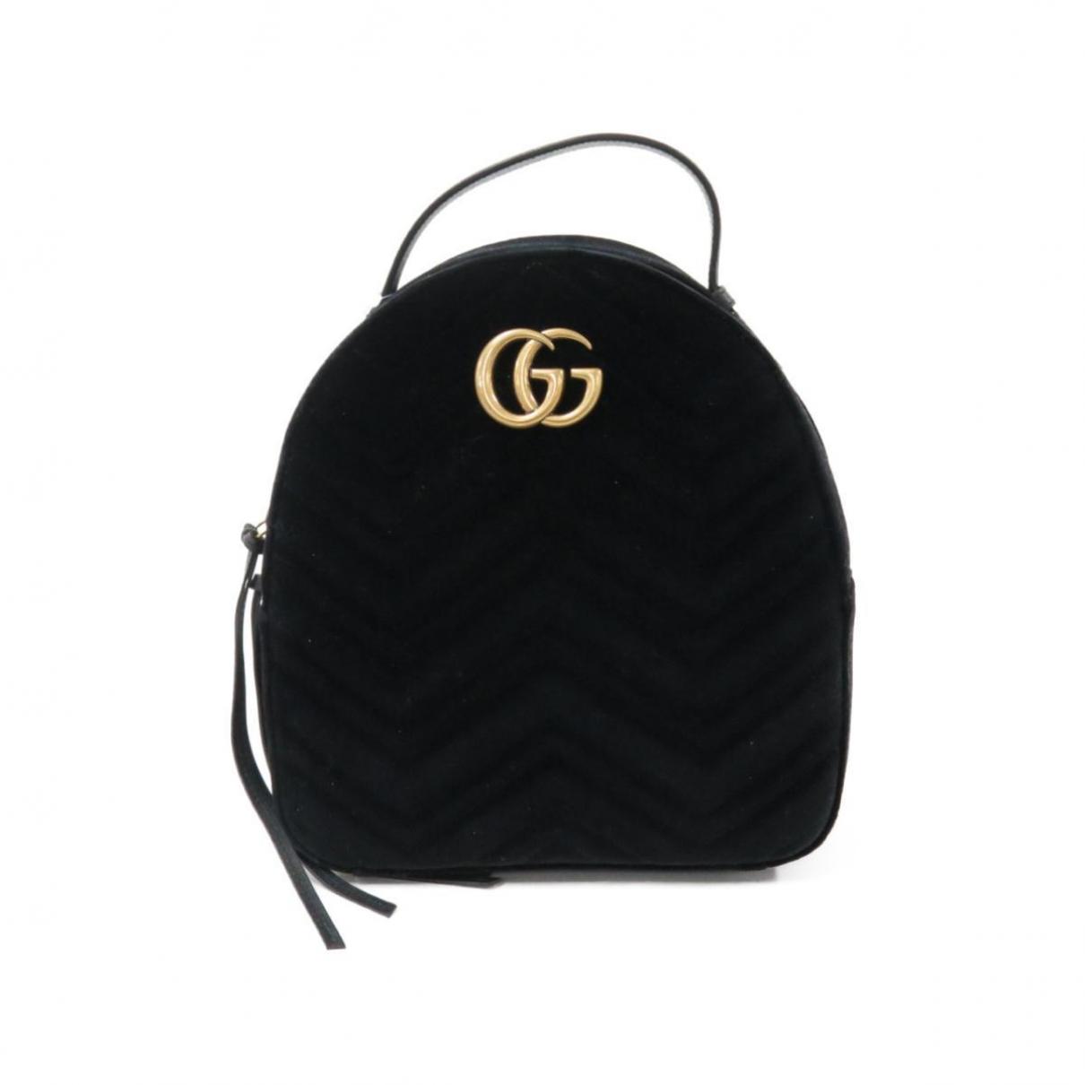 Gucci - Sac a dos Marmont pour femme en velours - noir