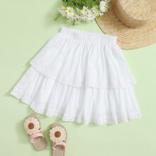 Girls Guipure Lace Trim Layered Skirt