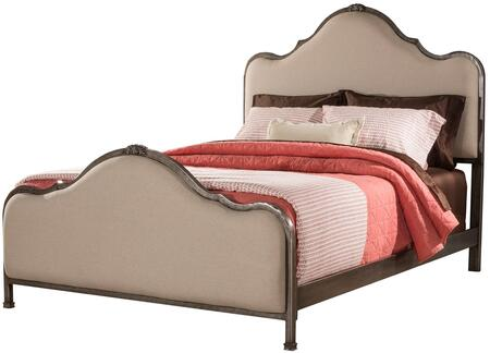 Delray Collection 2140BKR King Size Bed with Headboard  Footboard  Rails  Fabric Upholstery and Sturdy Metal Construction in Aged