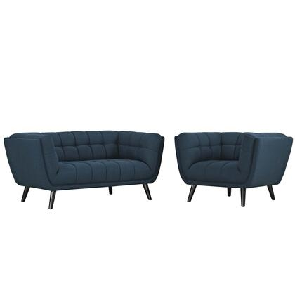 Bestow Collection EEI-2972-BLU-SET 2 PC Loveseat and Armchair Set with Dense Foam Padding  Non-Marking Foot Caps  Black Tapered Wood Legs and