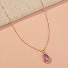 Rhinestone Decor Water Drop Charm Necklace