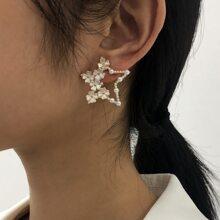 Faux Pearl Decor Star Earrings