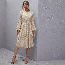 Kleid mit Knopfen vorn, Laternenaermeln und Punkten Muster