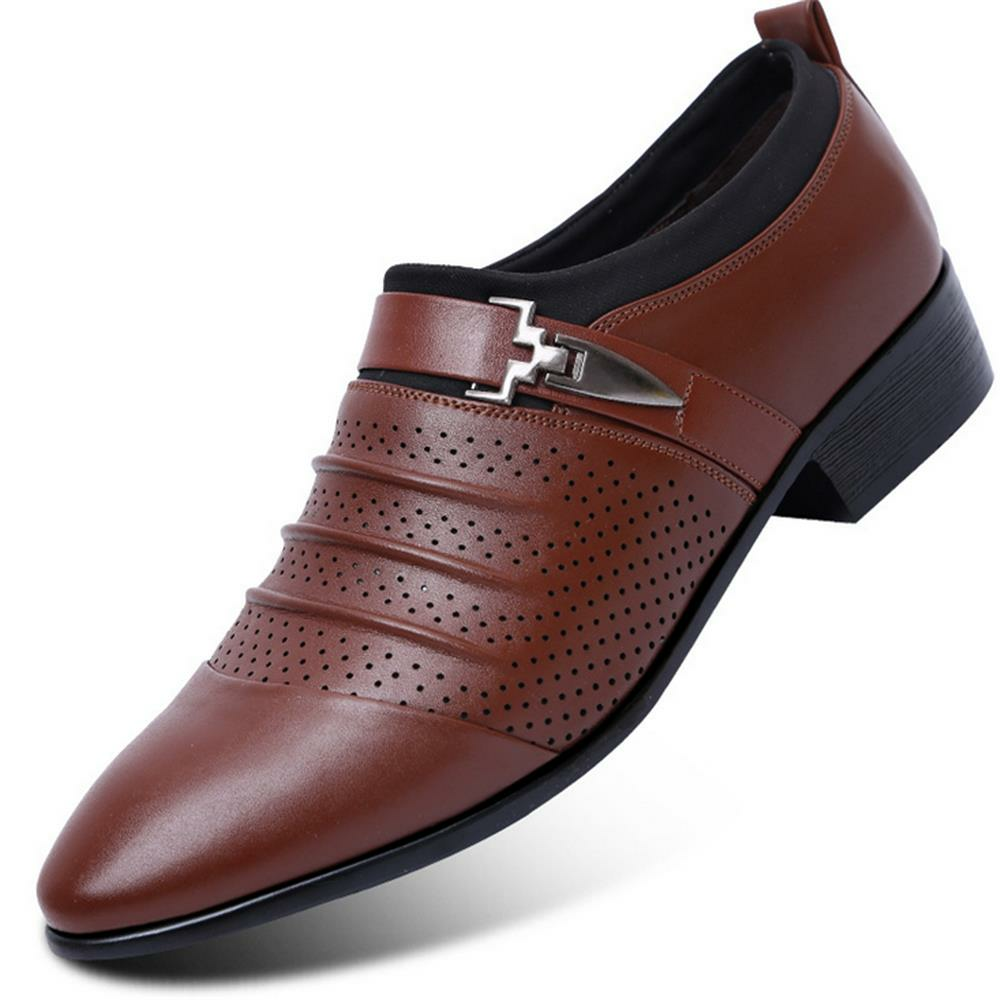 Men Metal BuckleHollow Out Pointed Toe Formal Wedding Dress Shoes