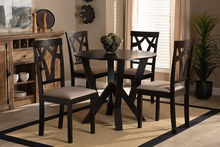 REAGAN-DARK BROWN/SAND-5PC DINING SET Reagan Modern and Contemporary Sand Fabric Upholstered and Dark Brown Finished Wood 5-Piece Dining