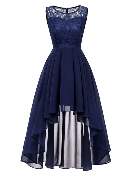 Milanoo Lace Dresses Dark Navy Jewel Neck Sleeveless Asymmetrical Lace Retro Dresses
