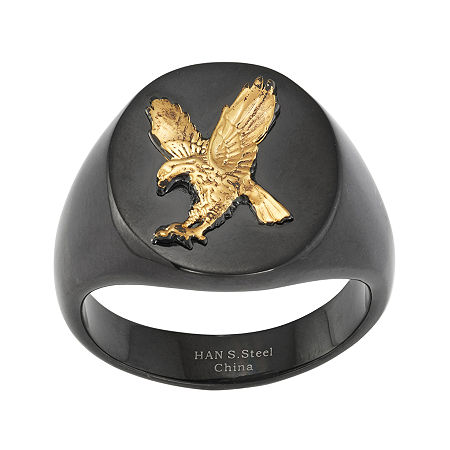 Mens Stainless Steel Eagle Signet Ring, 12 , No Color Family