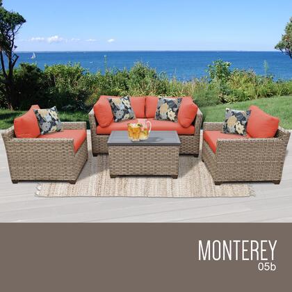 MONTEREY-05b-TANGERINE Monterey 5 Piece Outdoor Wicker Patio Furniture Set 05b with 2 Covers: Beige and