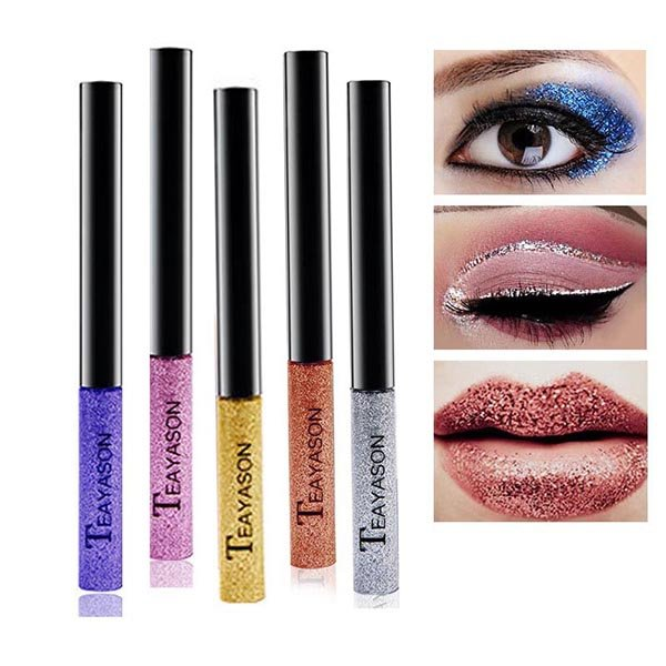 Gold Glitter Liquid Eyeliner Colorful Shimmer Eyeliner Waterproof Shiny Eyeliner Eye Comestic