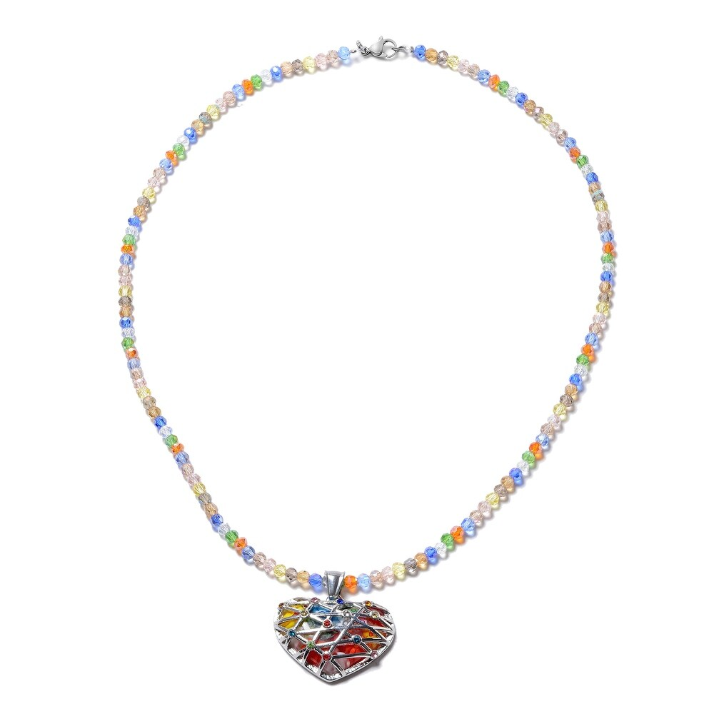 Glass Multi Color Glass with Chain Pendant Necklace Size 20 In Ct 75.3 - Chain 20'' (Chain 20'' - Clear)