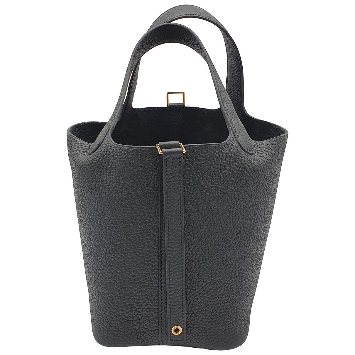 Hermes Picotin Handtasche in  Schwarz Leder