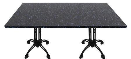 Q409 24X30-CA18-27H 24x30 Blue Galaxy Quartz Tabletop with 20 Ornate Matte Black Bar Height Table