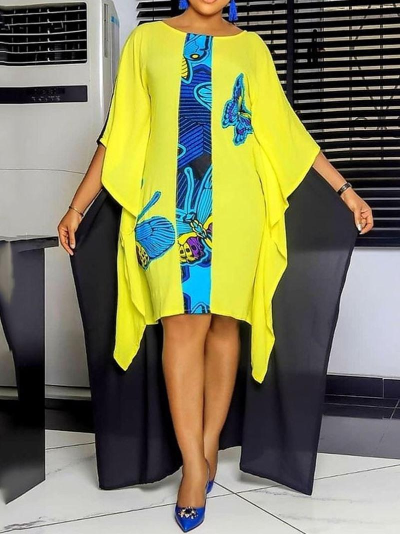 Ericdress Asymmetrical Print Round Neck Batwing Sleeve Color Block Bodycon Dress