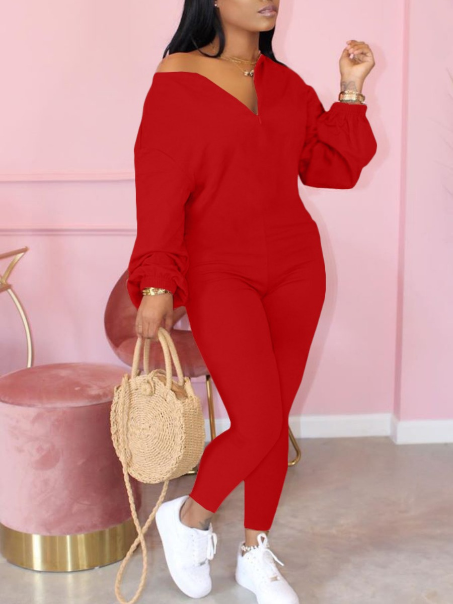 LW lovely Leisure Zipper Design Red One-piece Jumpsuit