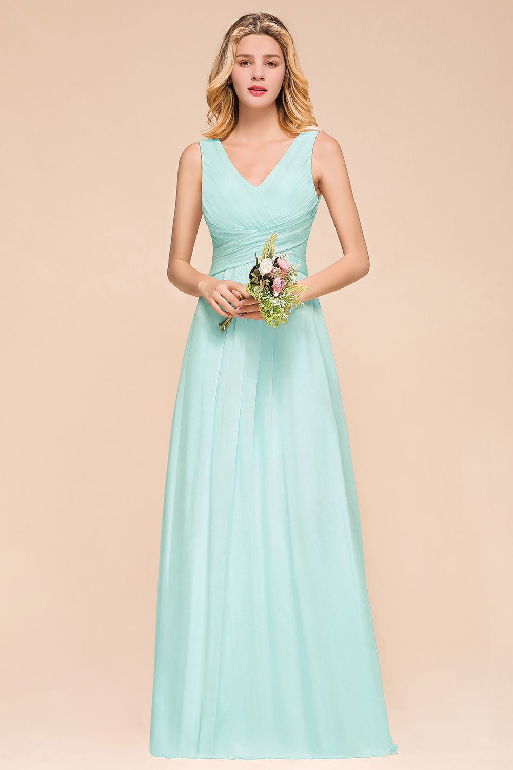 BMbridal Chic V-Neck Sleeveless Mint Green Bridesmaid Dresses with Ruffle