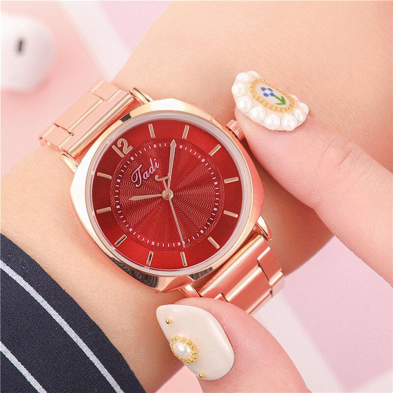 Trendy Elegant Women Wristwatch Rose Gold Case Folding Clasp Band Quartz Watches