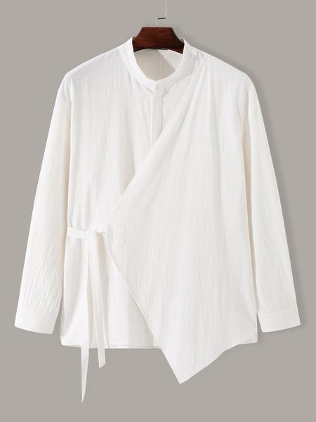 Yoins Men Casual Stand Collar Plain  Irregular Fashion Design Shirt
