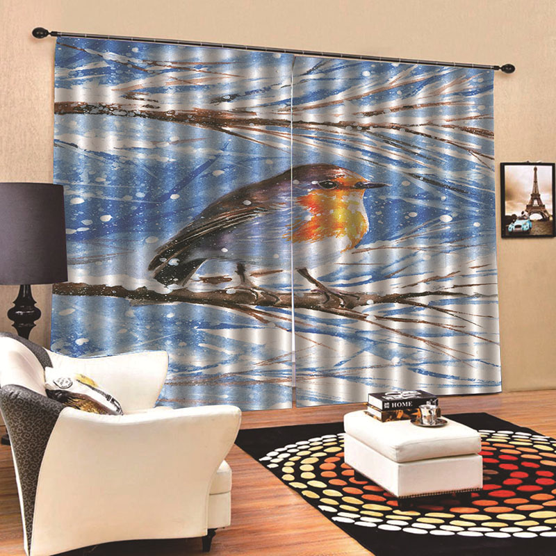 Room Darkening 3D Bird Print Curtains 2 Panel Set 200 ㎡ Thick Polyester Silky Satin Polyester Blend Provides an Elegant Look and Silky Soft Touch Good
