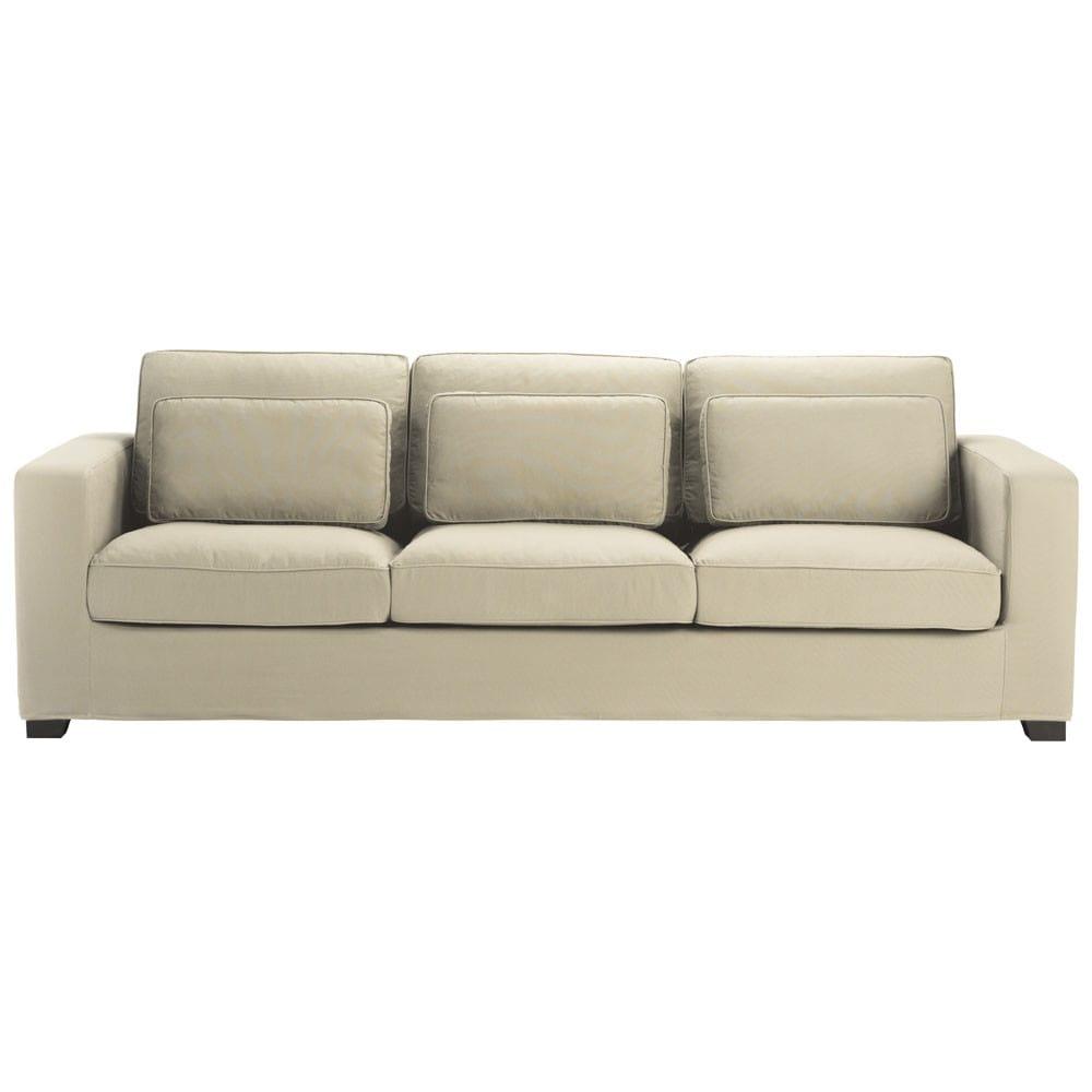 Sofa 4-Sitzer aus Baumwolle, graubeige Milano