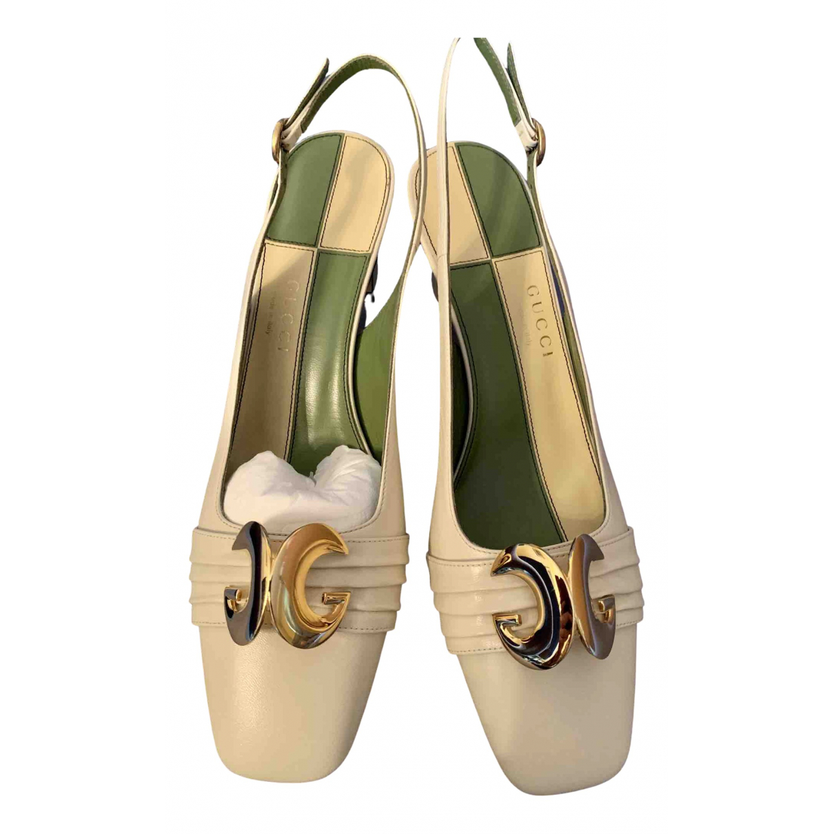Gucci N White Leather Heels for Women 40 IT