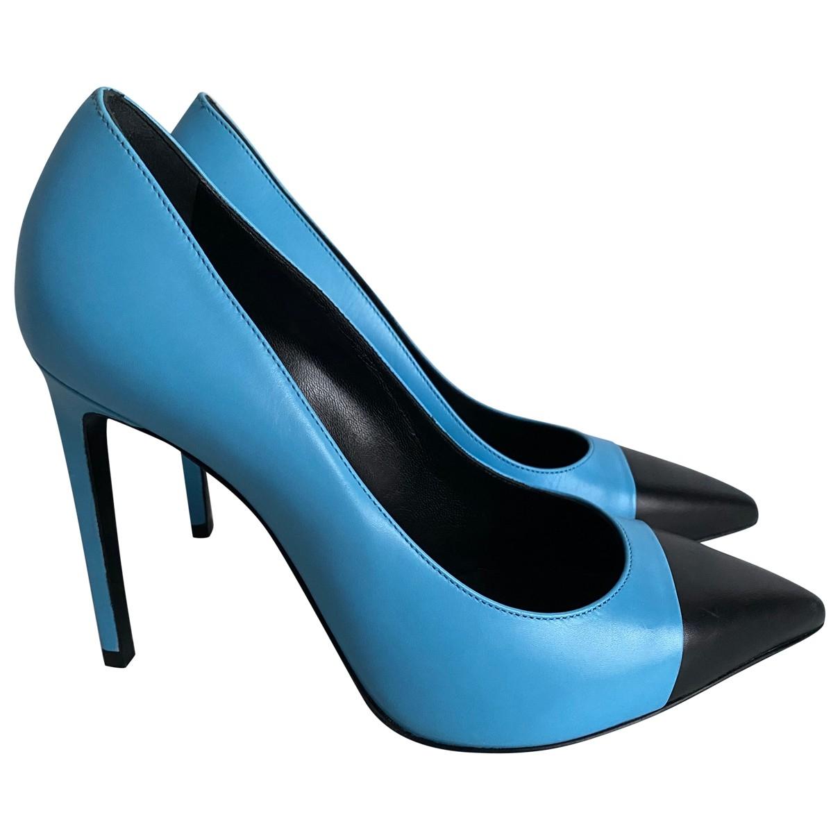Saint Laurent - Escarpins   pour femme en cuir - bleu