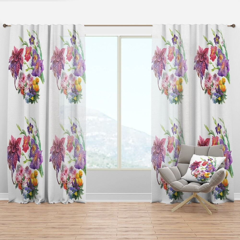 Designart 'Beautiful floral texture' Floral Curtain Panel (50 in. wide x 90 in. high - 1 Panel)