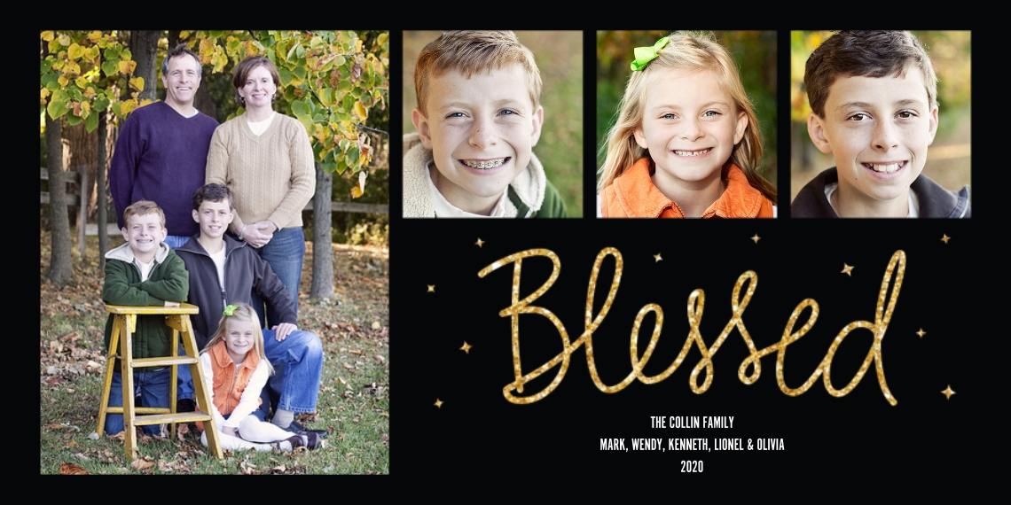 Christmas Photo Cards Flat Glossy Photo Paper Cards with Envelopes, 4x8, Card & Stationery -Blessed