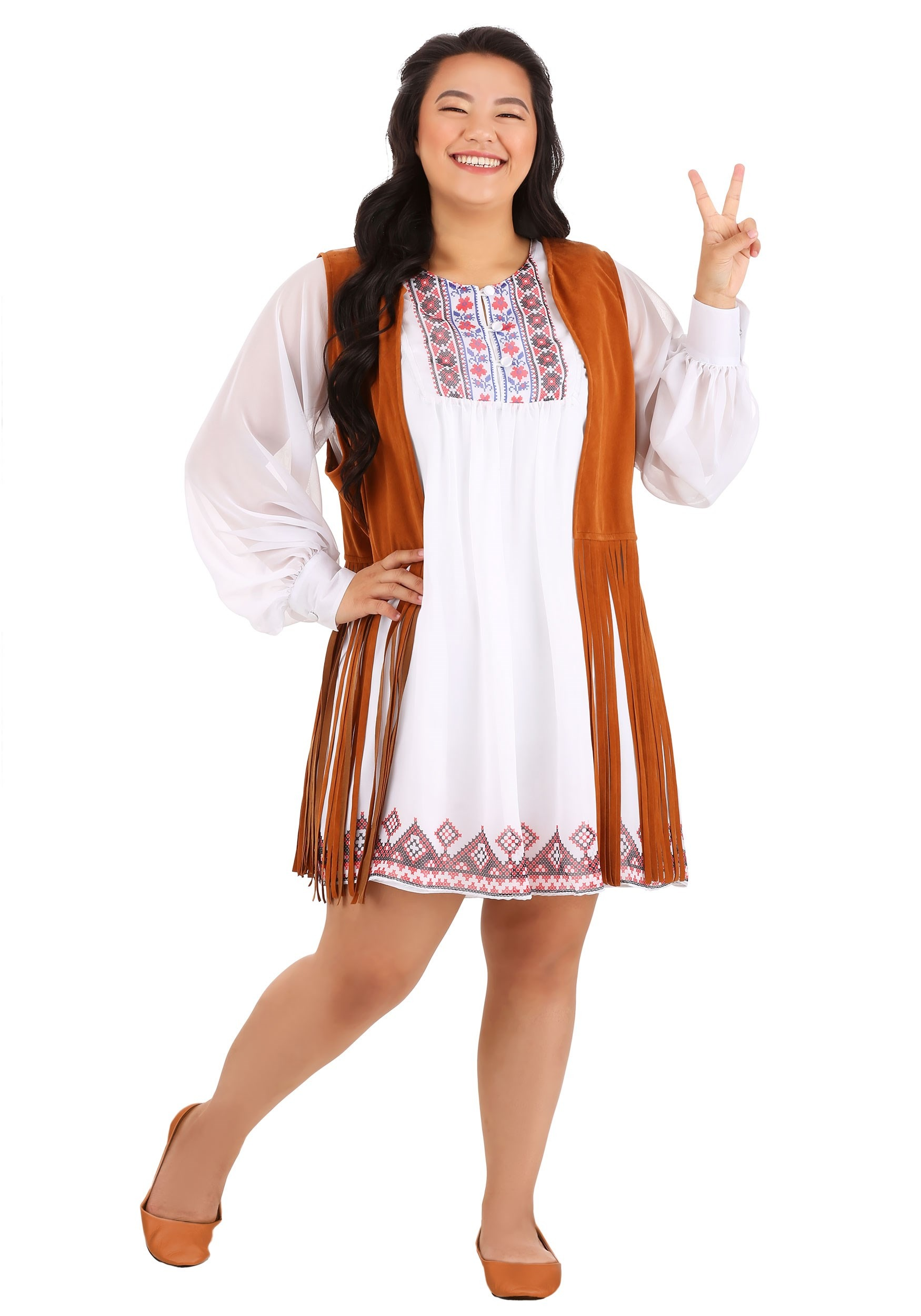 Plus Size 70s Free Spirit Costume for Women
