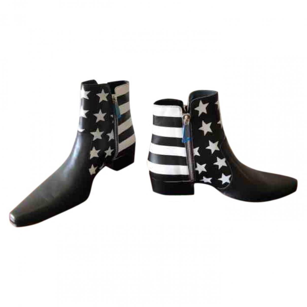 Balmain - Bottes.Boots   pour homme en cuir - noir