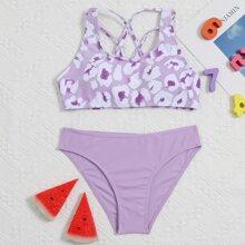 Bikini Badeanzug mit Grafik und Gitter hinten