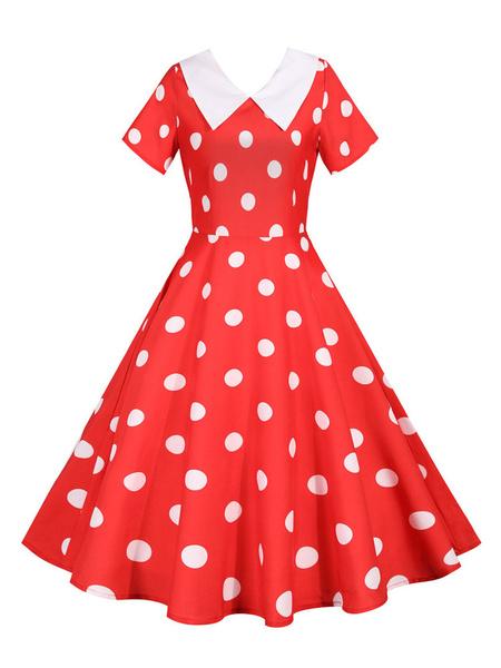 Milanoo Vintage Dress 1950s Short Sleeves Polka Dot Two Tone Swing Dress