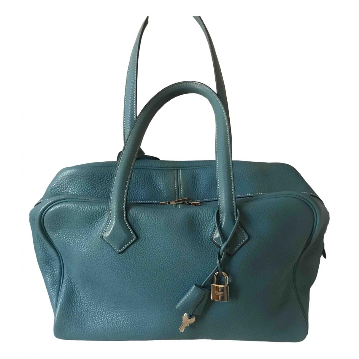 Hermes - Sac a main Victoria pour femme en cuir - bleu