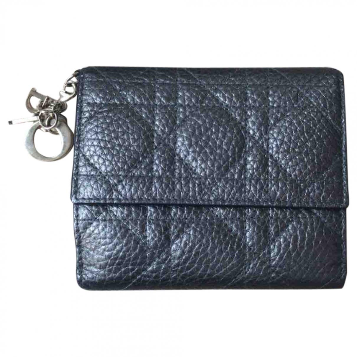 Dior - Portefeuille Lady Dior pour femme en cuir - gris
