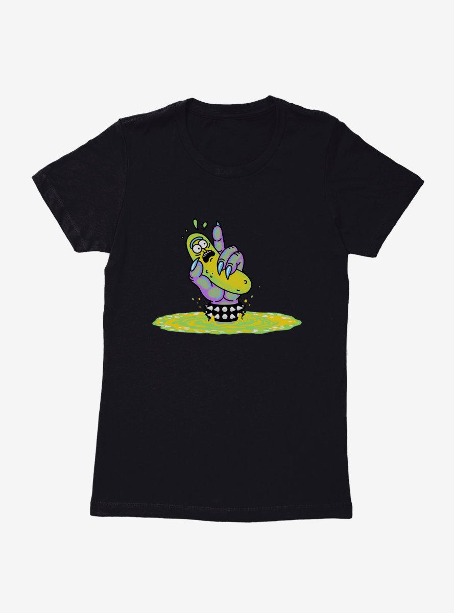 Rick And Morty Neon Pickle Rick Portal Womens T-Shirt