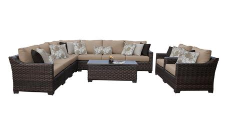 RIVER-10a-WHEAT Kathy Ireland Homes and Gardens River Brook 10-Piece Wicker Patio Set 10a - 1 Set of Truffle and 1 Set of Toffee